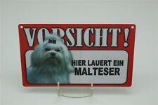 MALTESER - Tierwarnschild - VORSICHT Warnschild 20x12 cm 30