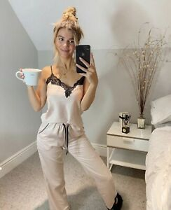 Ex Boux Avenue Luxury Satin Pyjamas Cami & Pants PJ's Set In Champagne  RRP £42