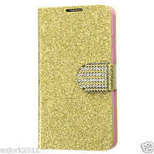 LG OPTIMUS L70 EXCEED 2 REALM WALLET FOLIO CASE W/CARD SLOT GLITTERING GOLD