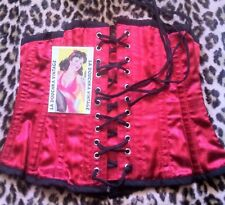 STEAMPUNK WOMAN LACE-UP CORSET~1800s STYLE~RED SILK & BLACK TRIMS~BONED~NEW~W:24