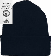 Watch Cap Navy Blue 100% Wool Hat Warm Winter Camping Cap Knitted USA Made 8493