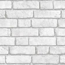 Luxury Muriva Bluff Brick Wall Effect White Embossed Vinyl 10m Wallpaper 601402