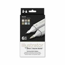 Espectro Noir-Ilustrador doble extremo artista Craft Pen Set-neutro 6 Pack