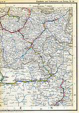 Chur Albula Schuls Poschiavo 1925 orig. Eisenbahn-Atlaskarte St-Moritz Davos