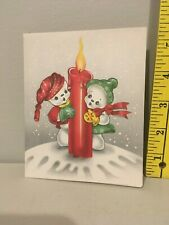 Vtg Christmas Card Snowman Woman Red Green Toboggans Coats Red Big Candle