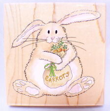 Stamps Happen Wooden Rubber Stamp #70036 Butterbean With Carrots Bunny Rabbit