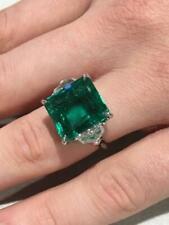 Emerad Cut 21.60 Carat Colombian Emerald Three Stone Engagement 925 Silver Ring