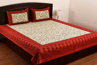 Cotton Floral Print Double Bed Sheet & Duvet Cover With 4 Pillow Covers Red sk