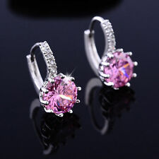 Simple & Nice White Gold Plated PINK Round Crystal Hoop Earrings Jewelry UK
