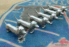 six Gorgeous french vintage  silverplate knife rests dogs texel