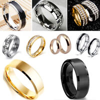 Fashion Jewelry Titanium Band Stainless Steel Ring For Men Women Size 6-12