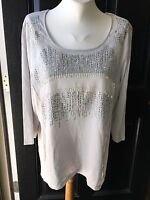 New $79 Chico's Embellished Seagull Gray Top Shirt Tee Sz 3 = XL 16/18 NWT Grey