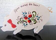 Scandinavian Telemark Rosemaling Swedish Folk Fall Vintage Wood Piggy Bank RARE!