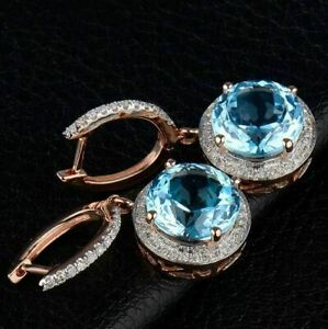 4.20Ct Round Cut Blue Topaz Drop & Dangle Stud Earrings In 14K Rose Gold Finish
