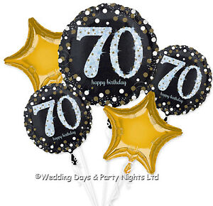 Happy 70th Birthday Bouquet 5 Foil Helium Balloons Black Gold Party Decorations