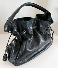 Cole Haan Black Leather Tote Satchel Handbag Purse Drawstring Snap Closure