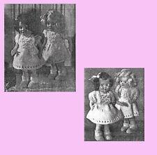 """VINTAGE KNIT PATTERN COPY - DRESS & BOLERO FOR 6.5"""" ROSEBUD TWIN DOLLS-1951"""