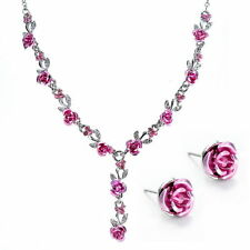 New Women Flower Rose Wedding Bridal Jewelry Crystal Charm Necklace Earrings Set