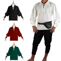 Renaissance Medieval Irish Peasant Pirate Costume Mens Knight Tops Blouse Shirt