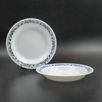 "Set of 2 Vintage Corelle Old Town Blue Flat Rimmed Soup Pasta Bowls 8-1/2"" NOS"