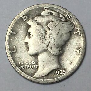 Mercury Dime 1925 D 90% Silver FC7