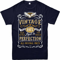 Personalised Made in 1972 Vintage T-Shirt, Born 1972 Birthday Age Year Gift Top