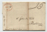 1822 Hanover NH stampless dotted red oval interesting letter [5246.493]