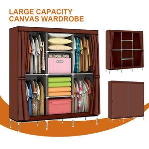 Canvas Portable Clothes Closet Wardrobe  Sheets Storage Cabinet Organiser Shelf