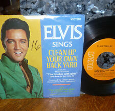 """*<*  ELVIS 1969 #35 """"CLEAN UP YOUR OWN BACKYARD"""": CLEAN M- 45 w/PICTURE SLEEVE!!"""