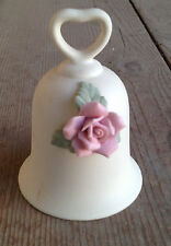 Bell #S Bas Relief Bisque Bell Flower Floral Rose Heart Figural Handle Vintage