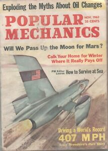 Popular Mechanics - November, 1963, Back Issue, 407 MPH Record