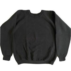 Vintage Fruit Of The Loom Blank Crew Neck Sweatshirt Pullover Black Gray XL USA