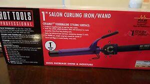 "Hot Tools Ceramic Tourmaline 1"" Salon Curling Iron/Wand - Purple Model 2181 NIB"