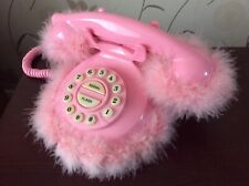 Rare Retro vintage pink fluffy telephone in working condition