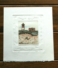 "Stunning ""Nauset Light"" Blind Embossed Print Hand Painted and Signed by Olson!"
