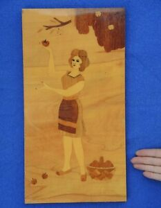 WOMAN gathering Apples/Old USSR INLAID Wood MARQUETRY PLAQUE Soviet Russian 44cm