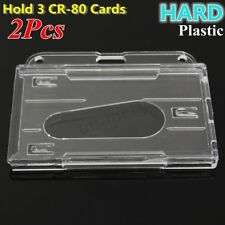 2Pcs Horizontal Transparent Hard Plastic ID Card Holder Clear Badge Cover Case