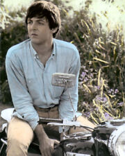 """PAUL McCARTNEY THE BEATLES riding MOTORCYCLE 8x10"""" HAND COLOR TINTED PHOTOGRAPH"""