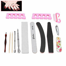 13Pc Manicure/Pedicure Tools Kits & Box - Polishing File buffer Cuticle Cutter