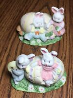 Vintage Easter Bunny and Egg Figurines, Pink and Blue Ceramic Rabbits w/ Eggs