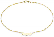Gold 9 ct Yellow Gold Heart Twist Curb Anklet of 22.5 cm/9 in               1814