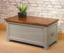 SOLID RUSTIC MANGO WOOD TRUNK BOX STORAGE CHEST - GREY PAINT FINISH 90CM WIDE
