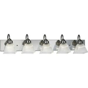 NIB Progress Lighting P3324-15 Chrome Prismatic 5 Light Bath Vanity Wall Light