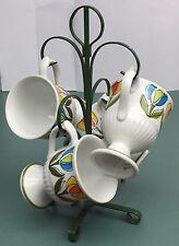 4 Vintage Pedestal Coffee Mugs Tea Cups Marked R6746 Japan Springtime Tulips
