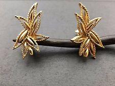 Clip On Earrings Marcel Boucher Signed Gold Tone Burst Leaf Twist Rope Edge