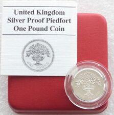 1987 ROYAL Nuovo di zecca Inglese Oak PIEDFORT £ 1 UNA STERLINA ARGENTO PROOF MEDAGLIA BOX COA
