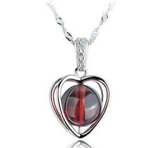 "925 Sterling Silver Natural Garnet Red Heart Pendant Necklace 18"" Gift Box D9"