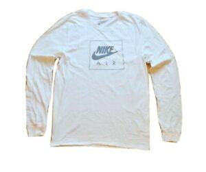 Mens Nike Air Box Swoosh Logo Long Sleeve T-Shirt White Grey Gray DC8696 100