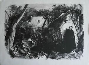 """PIETRO ANNIGONI litografia  """"autiritratto nel bosco""""  76x56 firmata numerata"""