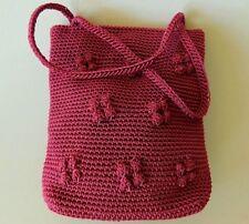 SAK Purse Handbag Evening Snap Clutch Small Crochet Flower Purple Plum Mulberry